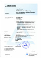 ISO 3834 Certificate inspection of a manufacturer and welding shop